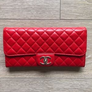 Red Chanel Quilt E/W Wallet on a Chain